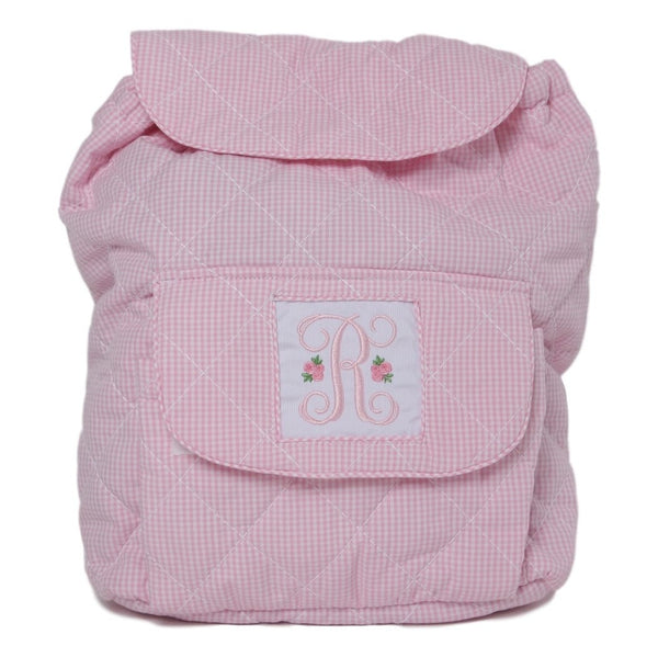 Pink Gingham Quilted Backpack with Insert