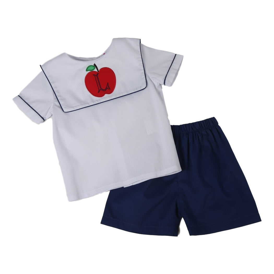 Navy Pique Square Collar Apple Boys Short Set