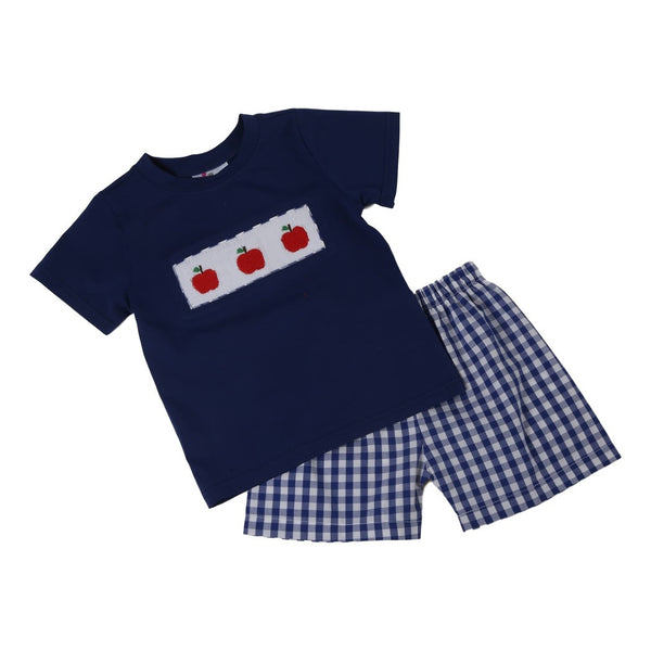 Navy Knit Smocked Apple Short Set