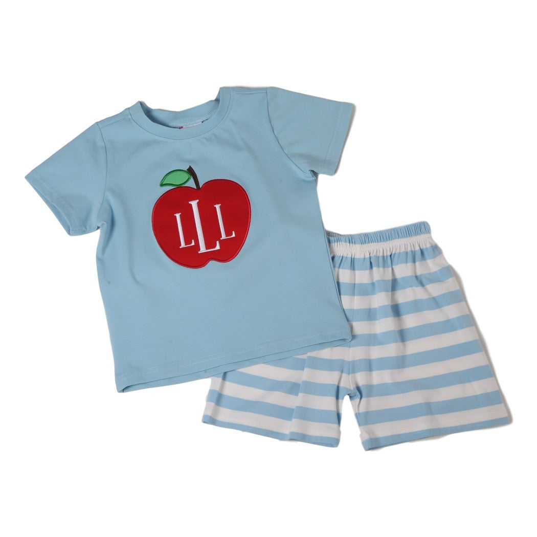 Blue Knit Apple Applique Short Set