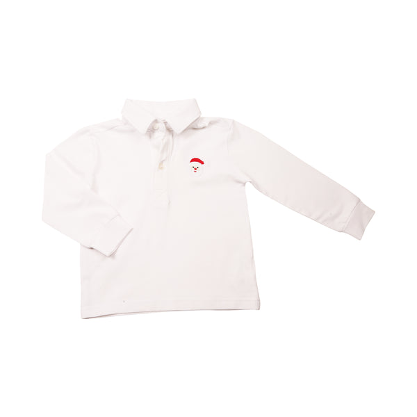 White Knit Embroidered Santa Polo