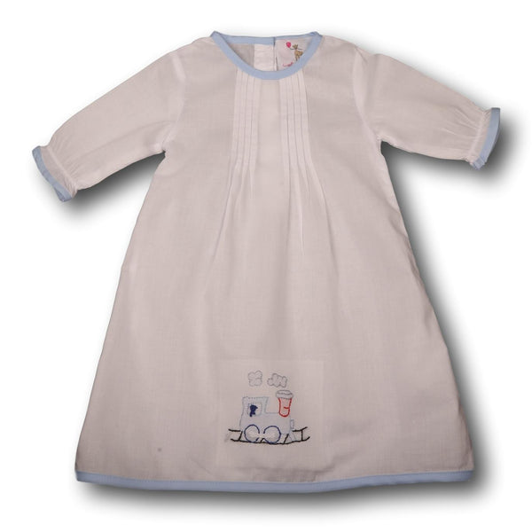 Blue Embroidered Train Layette Gown