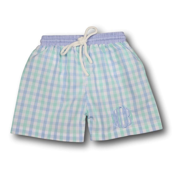 Blue and Mint Check Swim Trunks