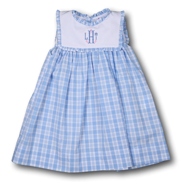 Blue Plaid Dress with White Square Collar