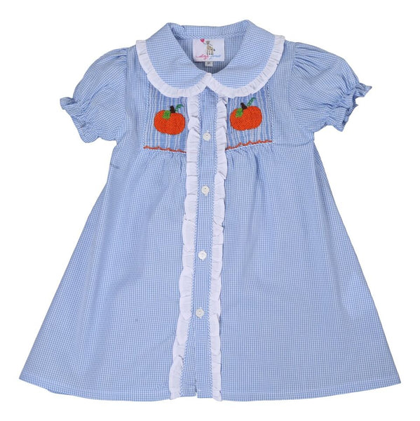 Blue Gingham Smocked Pumpkin Dress