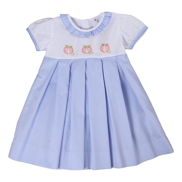 Blue and White Pique Ruffle Embroidered Pumpkin Dress