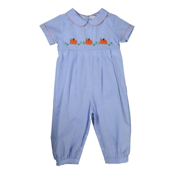 Blue Gingham Embroidered Pumpkin Long Romper