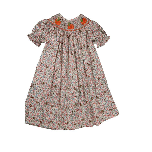 Liberty Smocked Pumpkin Bishop Dress