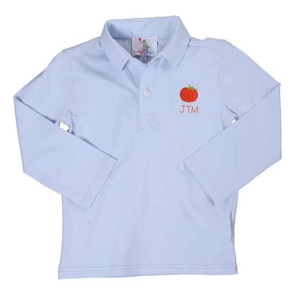 Blue Knit Embroidered Pumpkin Polo