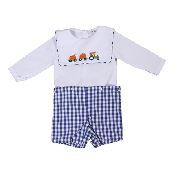 Navy Check Embroidered Pumpkin Train Button-On Suit