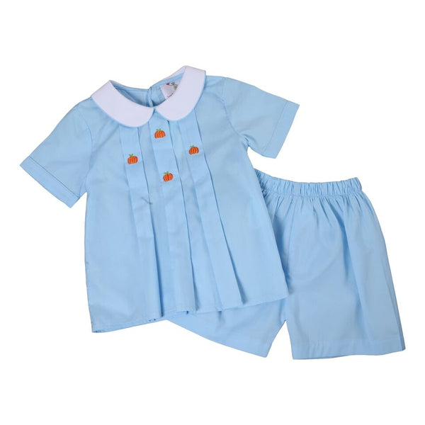 Blue Embroidered Pumpkin Boys Short Set