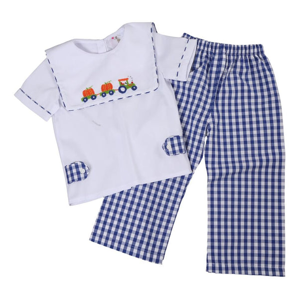 Navy Check Embroidered Pumpkin Train Pant Set