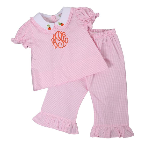 Pink Gingham Embroidered Pumpkin Pant Set