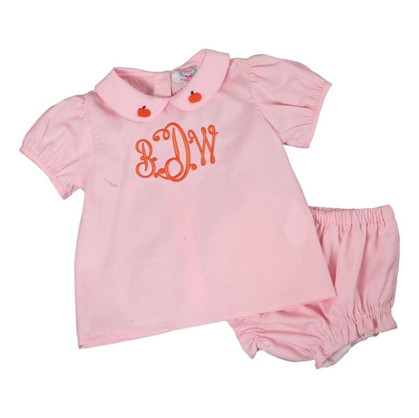 Pink Pique Embroidered Pumpkin Diaper Set