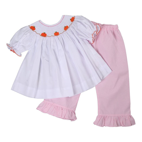 Pink Gingham Smocked Pumpkin Pant Set