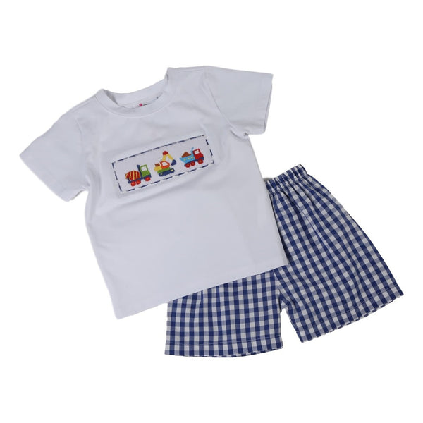 Navy Check Smocked Construction Trucks Short Set