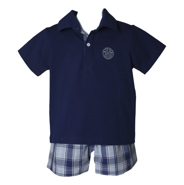 Navy and Blue Plaid Polo Set