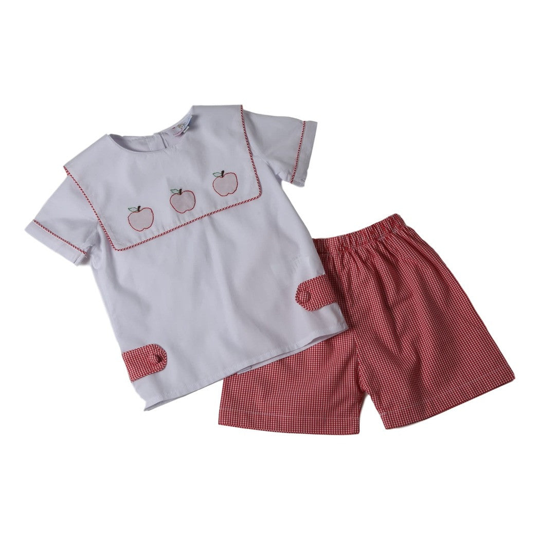 White and Red Gingham Apple Short Set