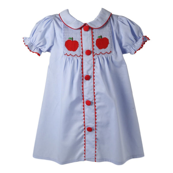Blue Pique A-line Apple Dress