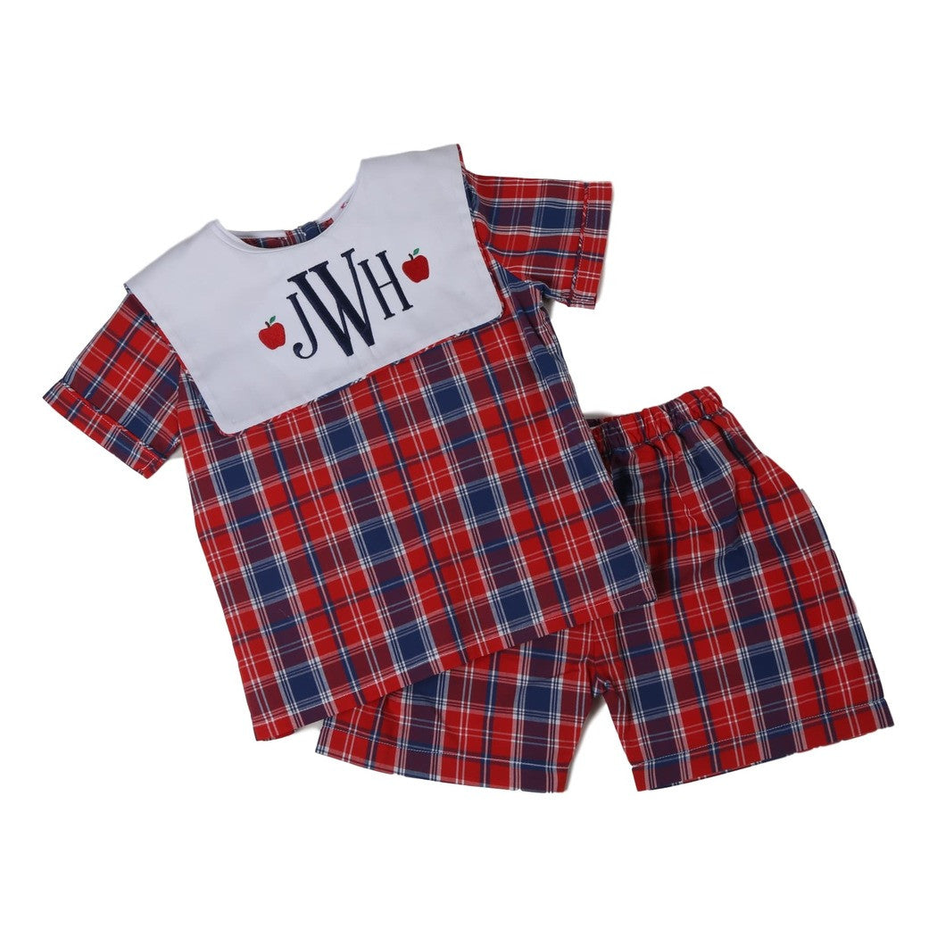 Navy and Red Plaid Short Set