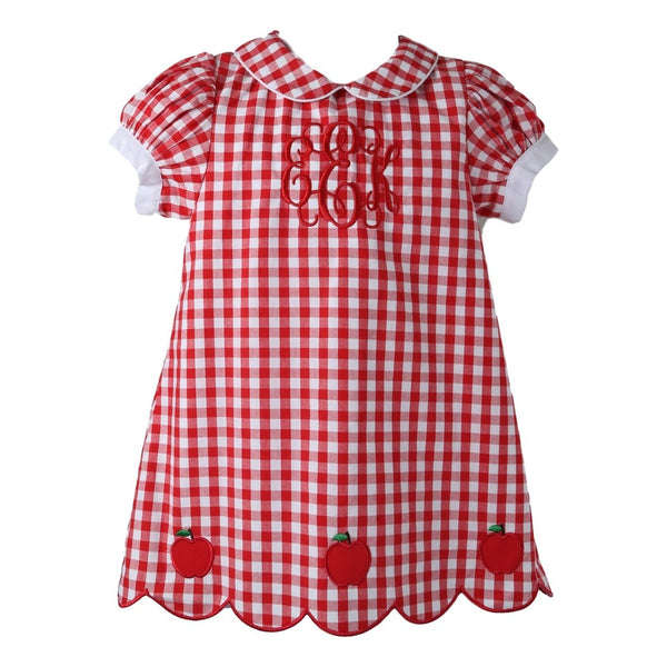 Red Check Dress with Embroidered Apples