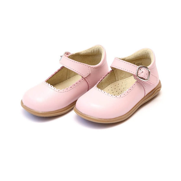 Angel Pink Scalloped Shoes with Velcro Under Buckle Strap