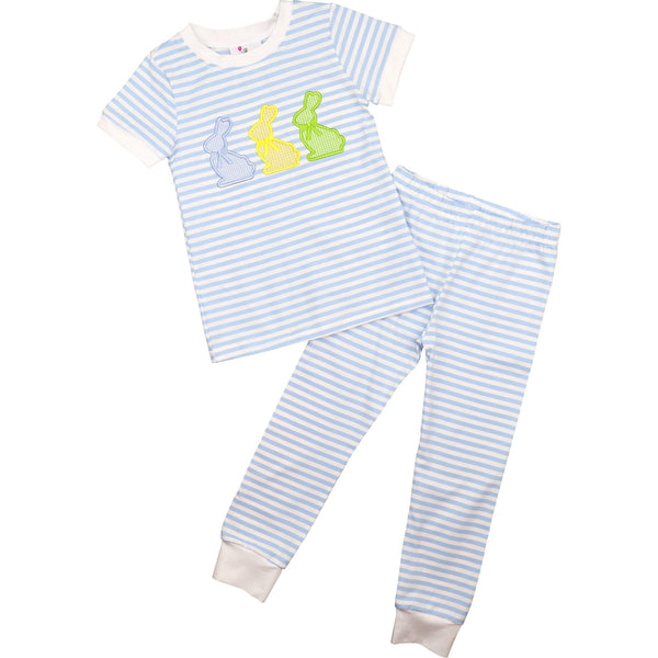 Blue Mini Stripe Knit Applique Bunnies Pajamas