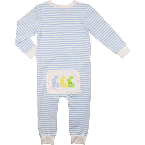 Blue Mini Stripe Knit Applique Bunnies Zipper Pajamas
