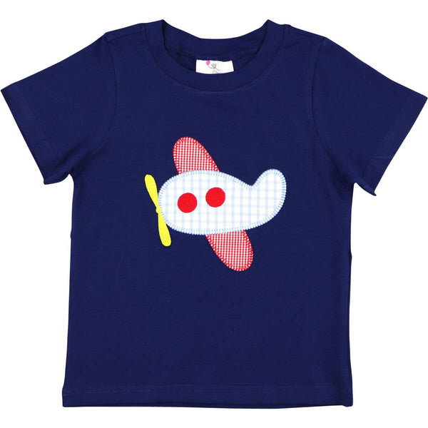 Navy Knit Applique Airplane Shirt