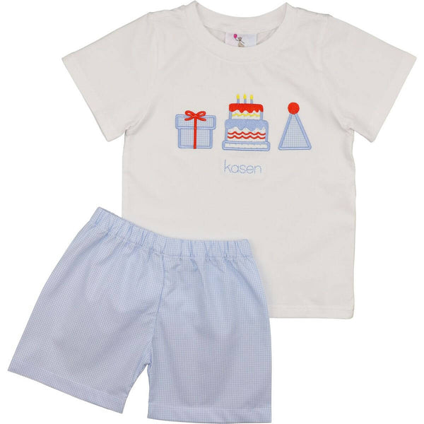 Blue Gingham Birthday Short Set