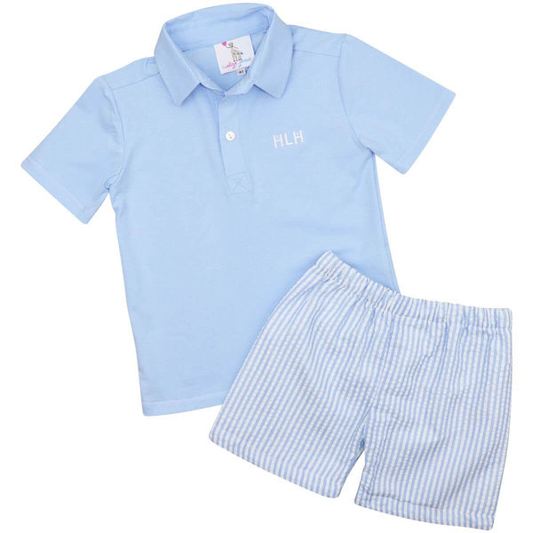 Blue Seersucker Polo Short Set