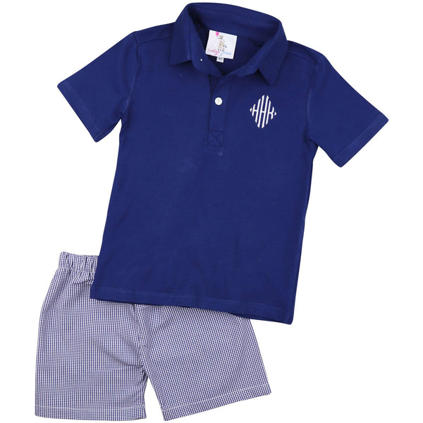 Navy Gingham Polo Short Set