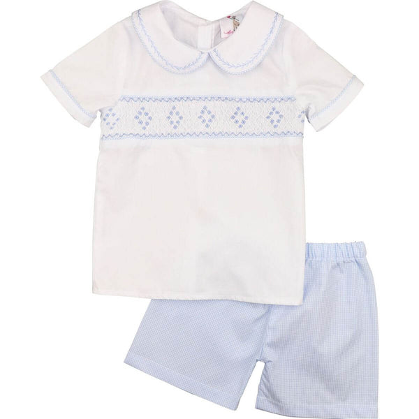 Blue Gingham Geometric Smocked Short Set