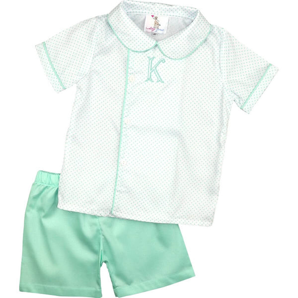 Mint Dot Pique Side Button Short Set