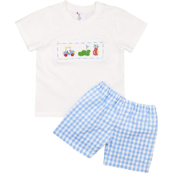 Blue Check Seersucker Smocked Golf Short Set