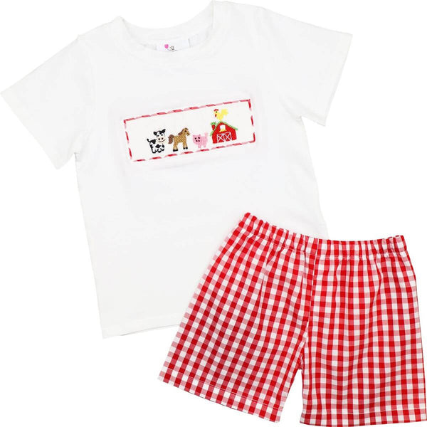 Red Check Smocked Farm Animals Short Set
