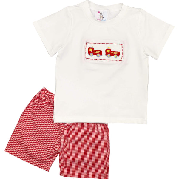 Red Gingham Smocked Firetruck Short Set