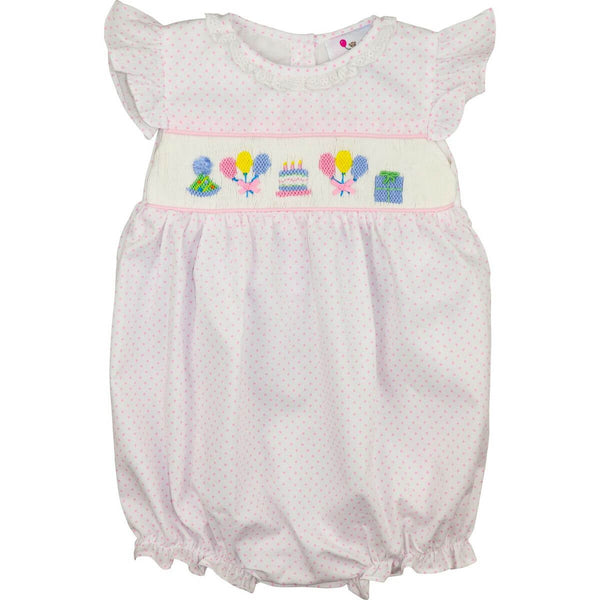 Pink Pique Dot Smocked Birthday Bubble