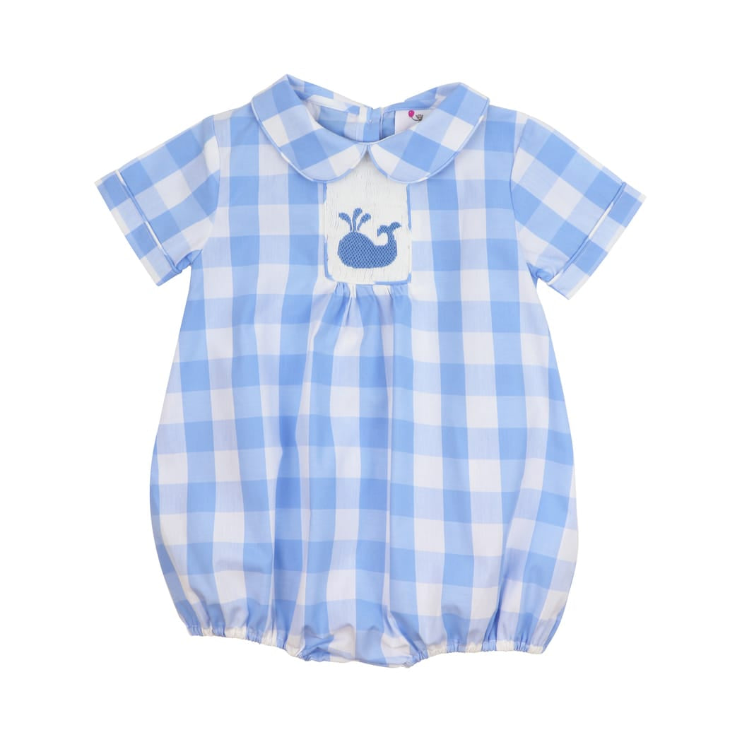 Blue Buffalo Check Smocked Whale Bubble