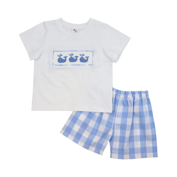 Blue Buffalo Check Smocked Whale Short Set