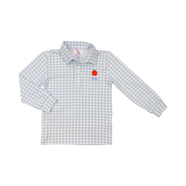 Blue Check Knit Pumpkin Polo Shirt