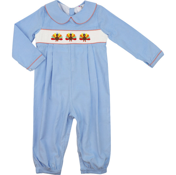 Blue Corduroy Smocked Turkey Long Romper
