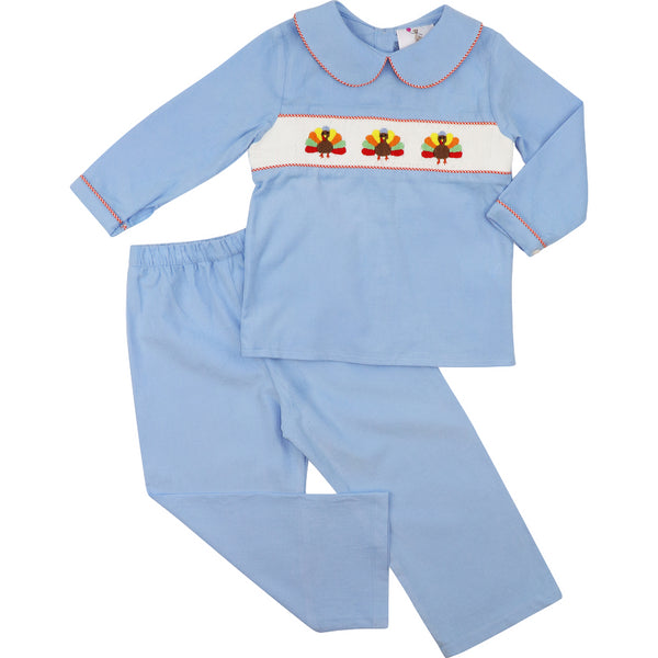 Blue Corduroy Smocked Turkey Pant Set