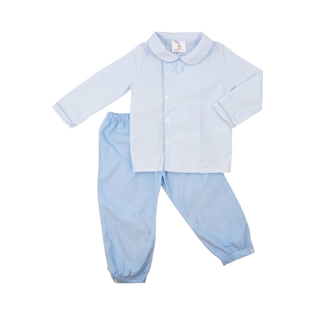 Blue Corduroy and Gingham Pant Set