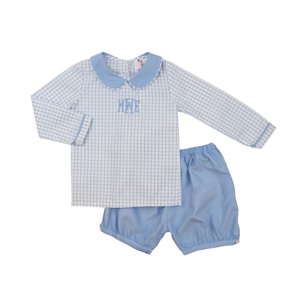Blue Corduroy and Gingham Short Set