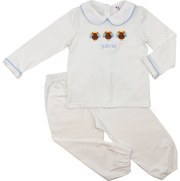 Blue Dot Embroidered Turkey Pant Set