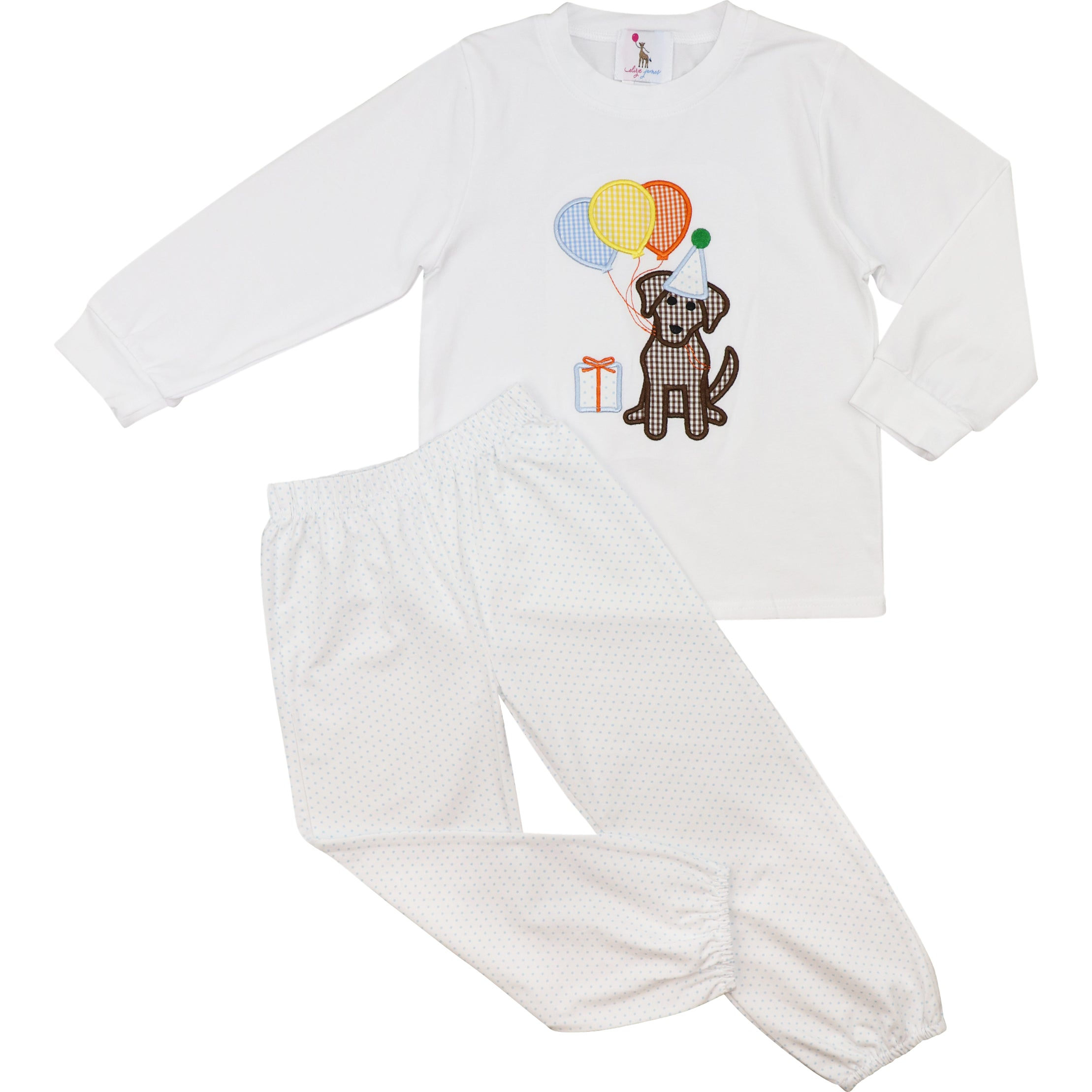 Blue Dot Knit Puppy and Balloon Pant Set