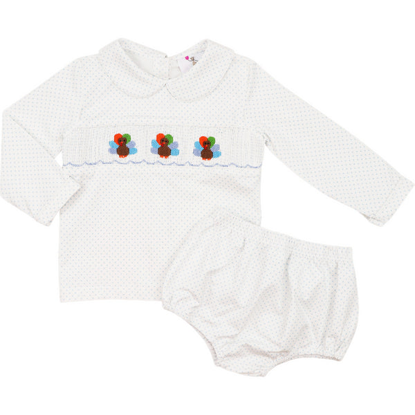 Blue Dot Smocked Turkey Diaper Set