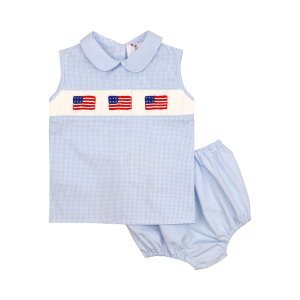 Blue Gingham Smocked Flag Diaper Set