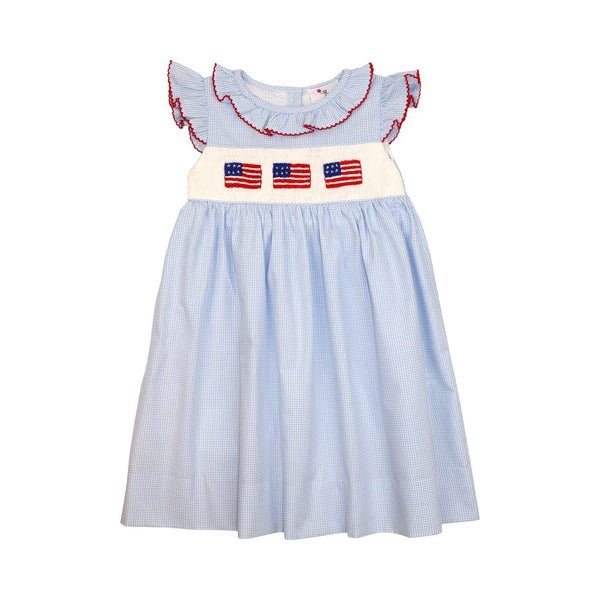 Blue Gingham Smocked Flag Dress